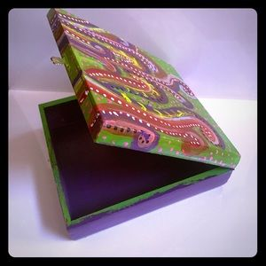 Vintage hand painted jewelry box, from cigar box